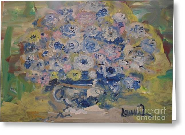 Greeting Card featuring the painting Flow Bleu by Laurie Lundquist