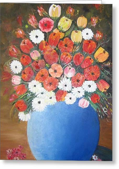 Flower Vase Greeting Card by Usha Rai