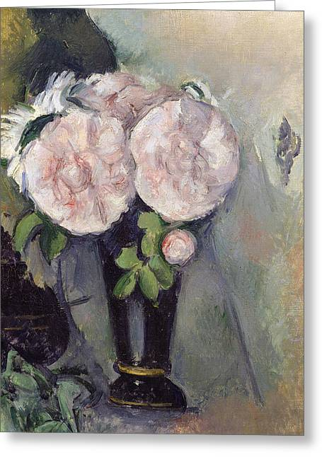 Flowers In A Blue Vase Greeting Card by Paul Cezanne