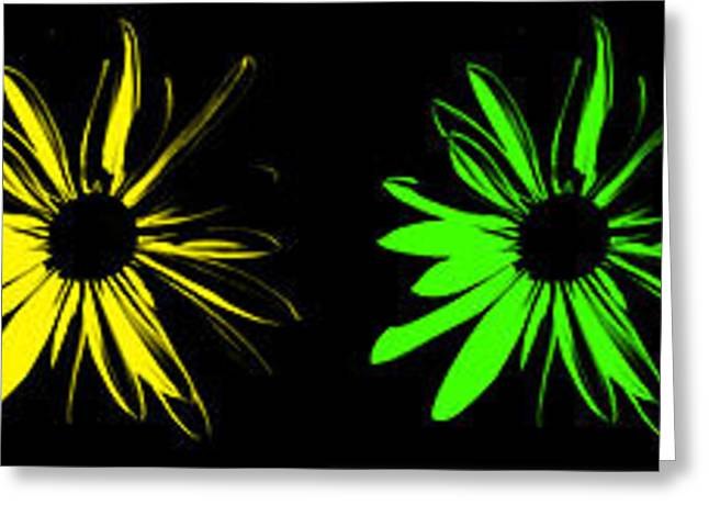 Flowers On Black Greeting Card
