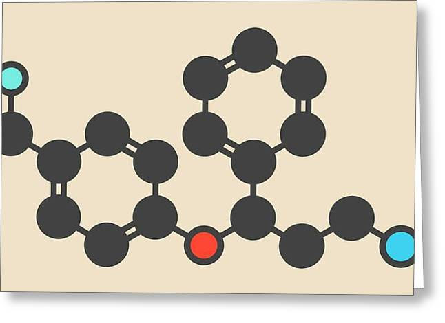Fluoxetine Antidepressant Drug Molecule Greeting Card by Molekuul