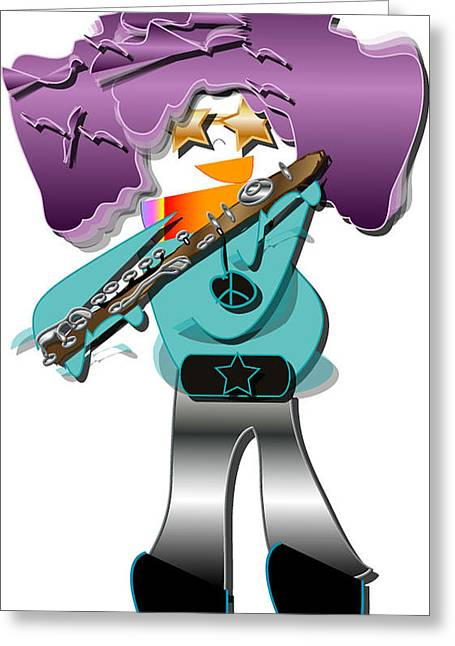 Greeting Card featuring the digital art Flute Player by Marvin Blaine