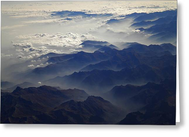 Greeting Card featuring the photograph Flying Over The Alps In Europe by Colette V Hera  Guggenheim