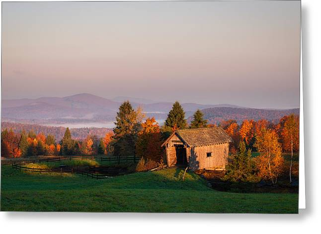 Fog In The Valley Greeting Card