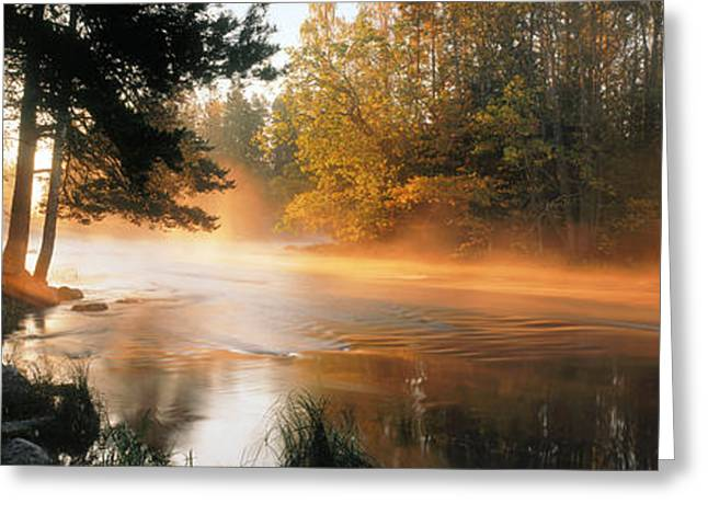 Fog Over A River, Dal River, Sweden Greeting Card
