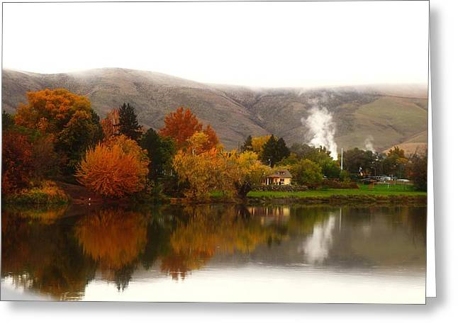 Greeting Card featuring the photograph Foggy Fall Morning 2 by Lynn Hopwood