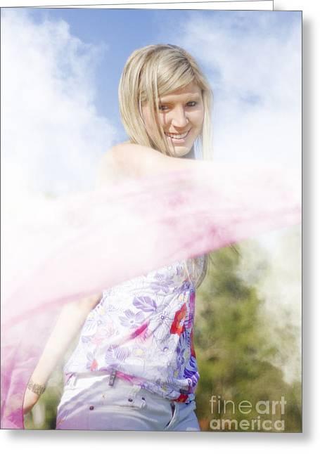 Foggy Field Frolic Greeting Card by Jorgo Photography - Wall Art Gallery