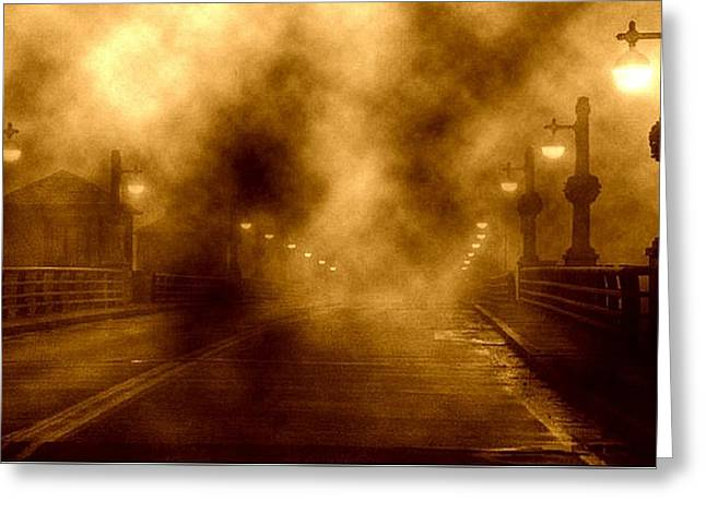 Greeting Card featuring the photograph Foggy Night At The Bridge by Holly Martinson