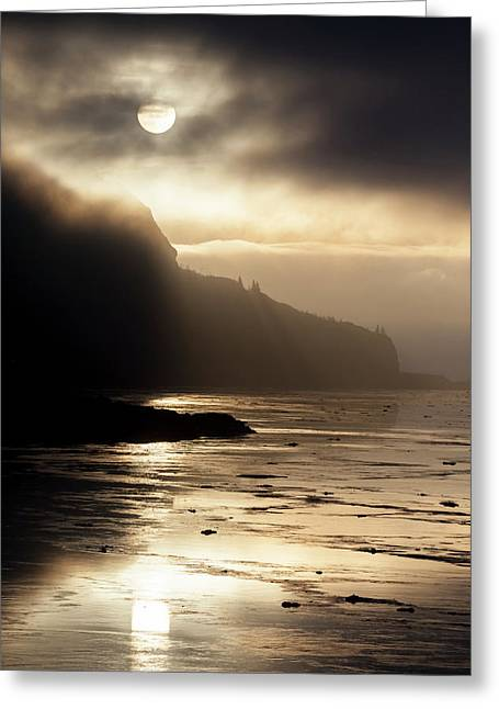 Foggy Sunset Over Turnagain Arm Greeting Card by Doug Lindstrand