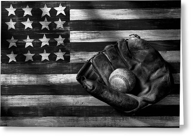 Folk Art American Flag And Baseball Mitt Black And White Greeting Card
