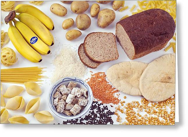 Food Containing Carbohydrates Greeting Card by Martyn F. Chillmaid