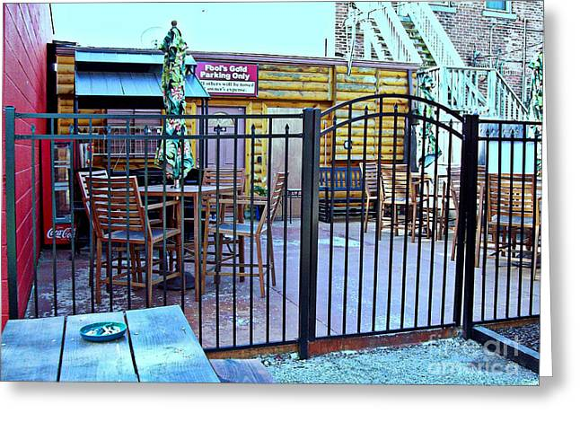 Fool's Gold Patio Greeting Card by MJ Olsen