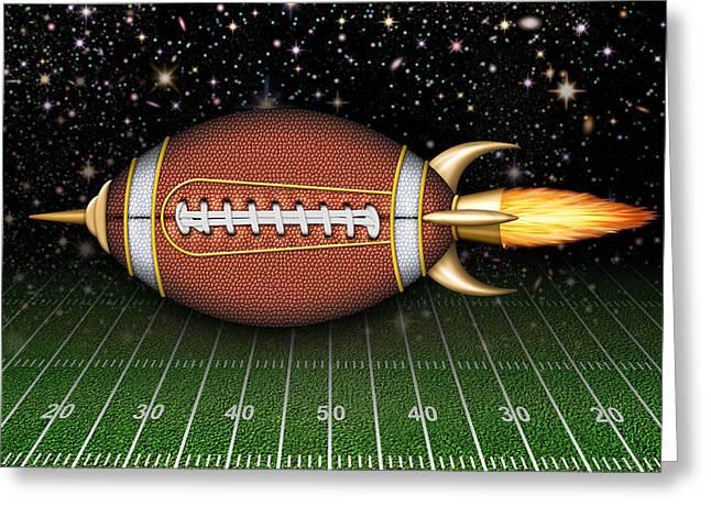 Football Spaceship Greeting Card