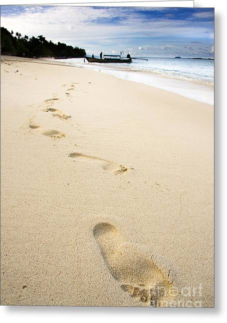 Footprints On Tropical Beach Greeting Card
