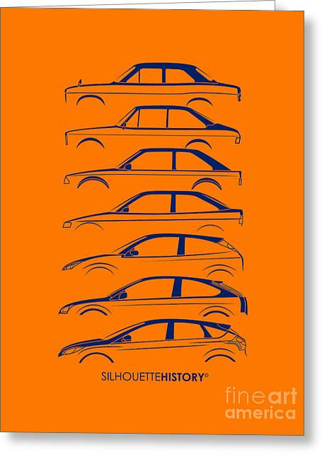 Ford Escort And Focus Silhouettehistory Greeting Card by Gabor Vida