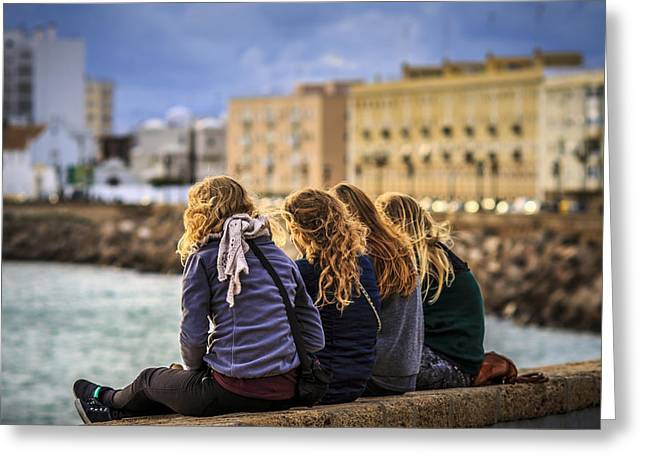 Foreign Students Cadiz Spain Greeting Card by Pablo Avanzini