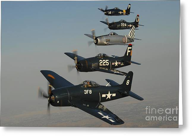 Formation Of Grumman F8f Bearcats Greeting Card by Phil Wallick