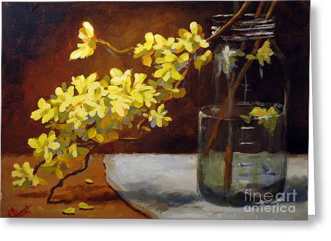 Greeting Card featuring the painting Forsythia by Carol Hart