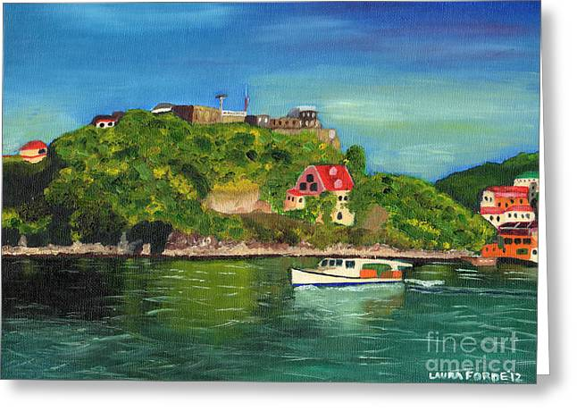 Greeting Card featuring the painting Fort George Grenada by Laura Forde