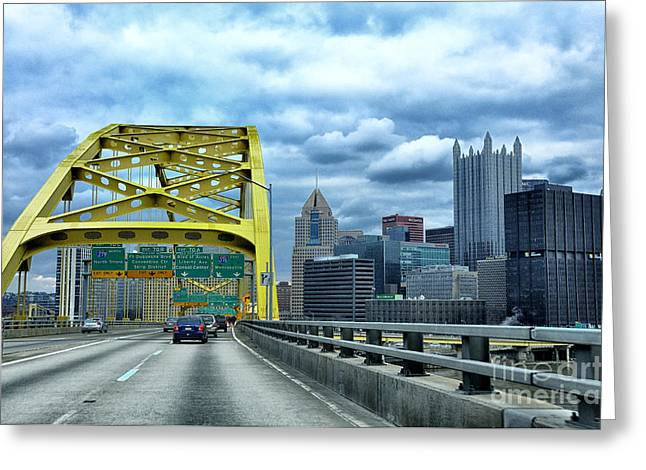 Fort Pitt Bridge And Downtown Pittsburgh Greeting Card by Thomas R Fletcher