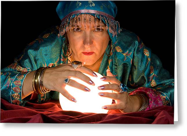 Fortune Teller And Crystal Ball Greeting Card