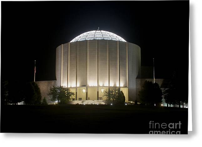 Founders Hall At Night Greeting Card by Mark Dodd