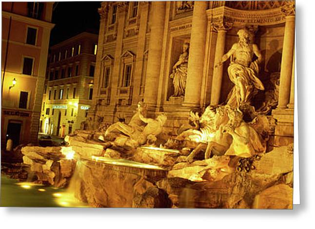 Fountain Lit Up At Night, Trevi Greeting Card