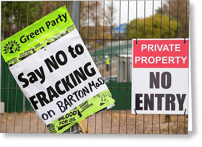 Fracking Site Greeting Card by Ashley Cooper