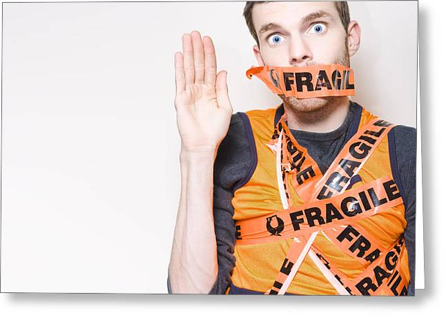 Fragile Male Employee Getting Posted Interstate Greeting Card by Jorgo Photography - Wall Art Gallery