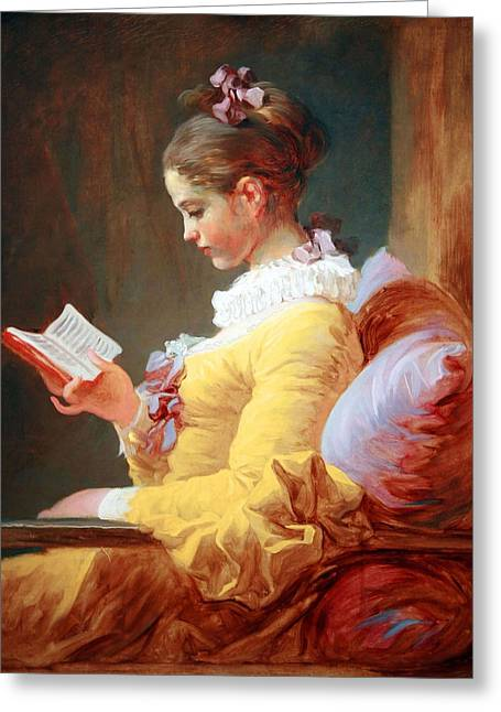 Greeting Card featuring the photograph Fragonard's Young Girl Reading by Cora Wandel