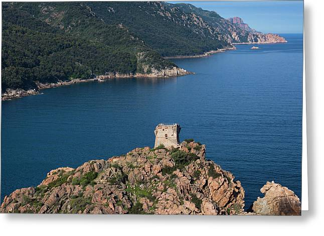 France, Corsica, Calanche, Porto Greeting Card by Walter Bibikow