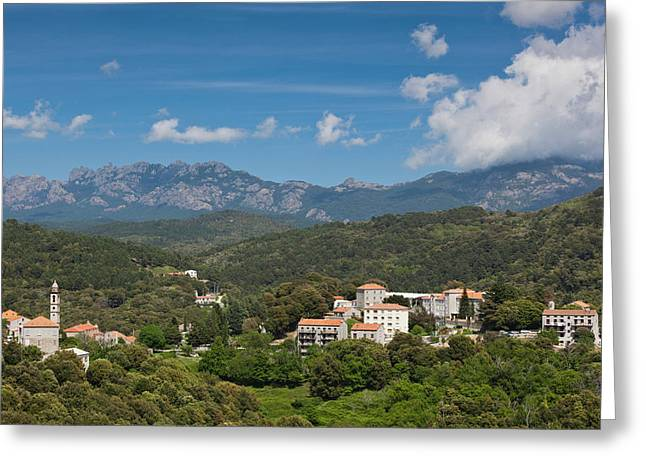 France, Corsica, La Alta Rocca, Levie Greeting Card by Walter Bibikow