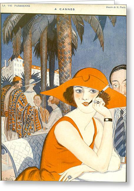 France La Vie Parisienne Magazine Plate Greeting Card by The Advertising Archives