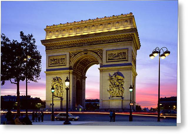 France, Paris, Arc De Triomphe, Night Greeting Card