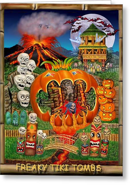 Freaky Tiki Tombs Greeting Card by Glenn Holbrook