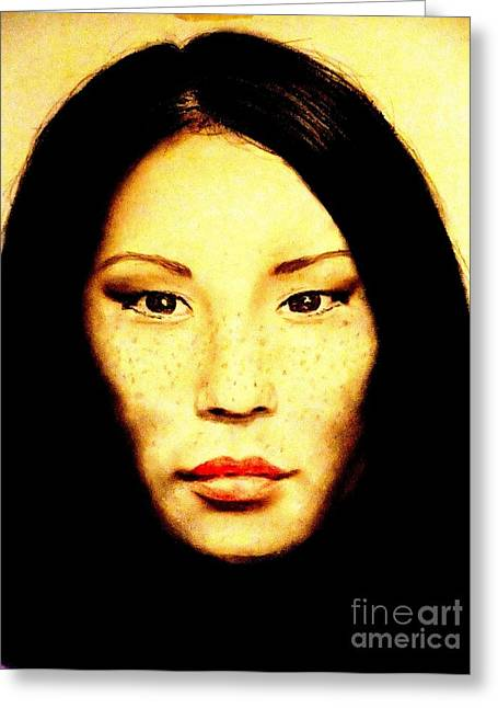 Freckle Faced Beauty Lucy Liu  Greeting Card by Jim Fitzpatrick