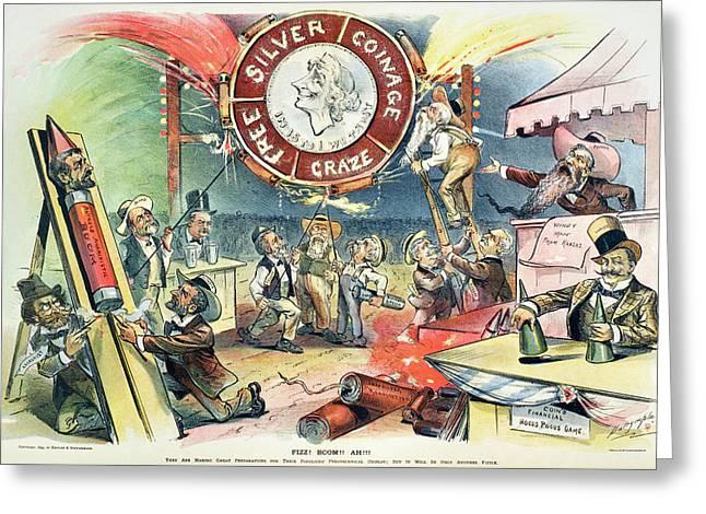 Free Silver Cartoon, 1895 Greeting Card
