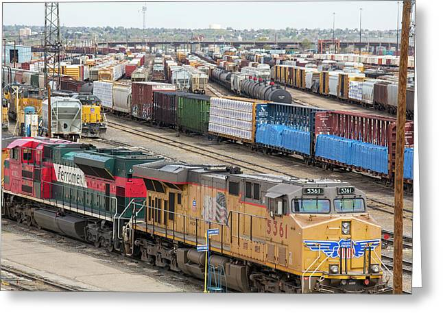 Freight Trains At A Rail Yard Greeting Card by Jim West