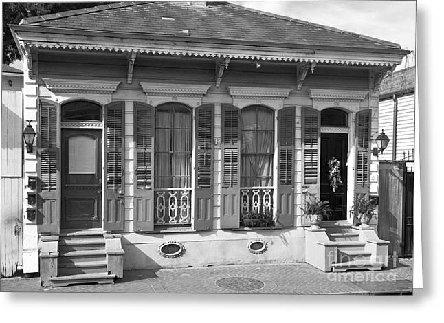 French Quarters Style Bungalow Home With Flower Boxes In New Orl Greeting Card