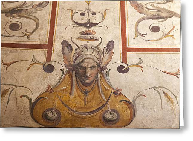 Fresco On The Ceiling In Palazzo Vecchio Greeting Card by Melany Sarafis