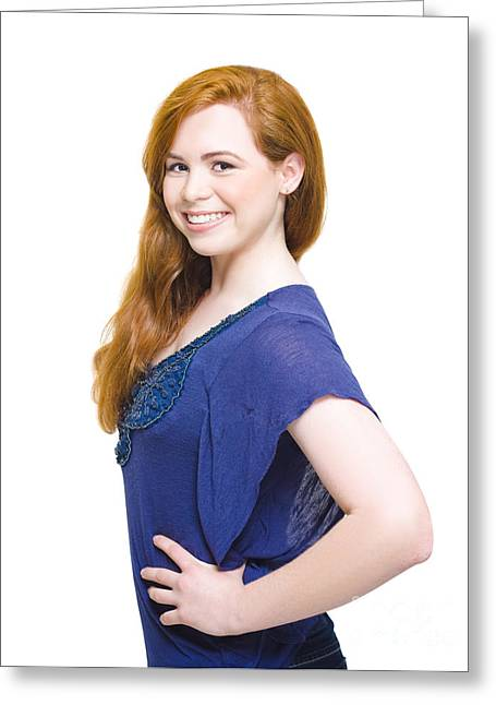 Fresh Faced Beautiful Woman With Auburn Hair Greeting Card