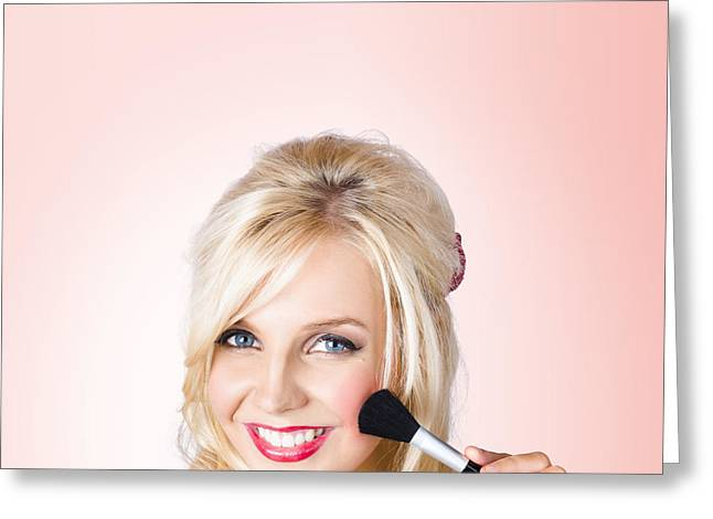 Fresh Faced Makeup Girl With Cosmetic Brush Greeting Card by Jorgo Photography - Wall Art Gallery