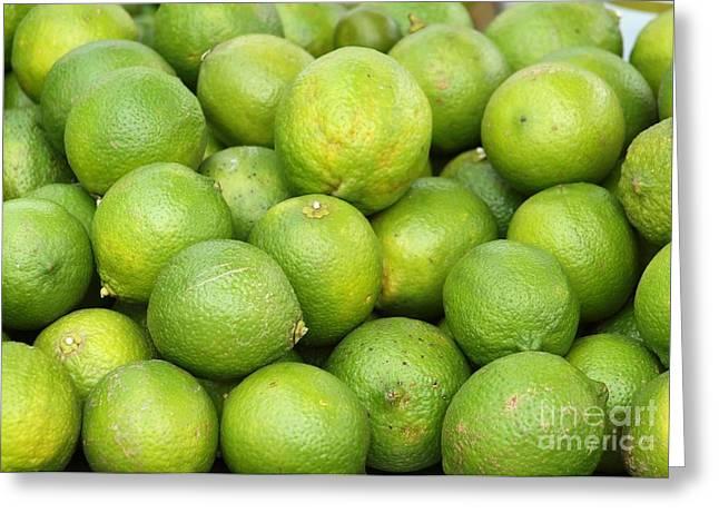 Fresh Green Lemons Greeting Card