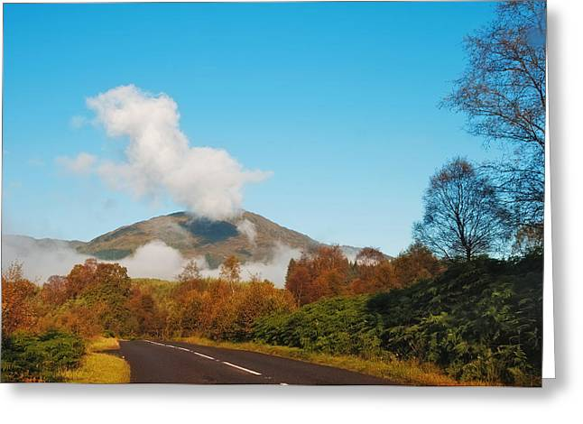 Fresh Morning Road Through The Trossachs National Park. Scotland Greeting Card by Jenny Rainbow