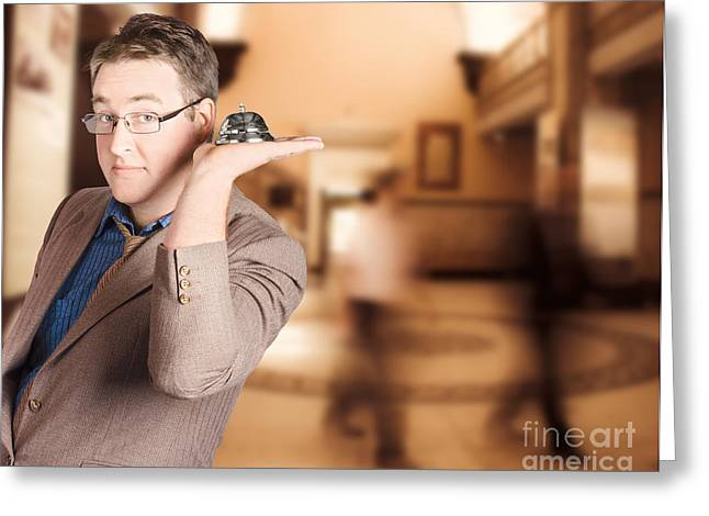 Friendly Store Manager Holding Help Desk Bell Greeting Card by Jorgo Photography - Wall Art Gallery