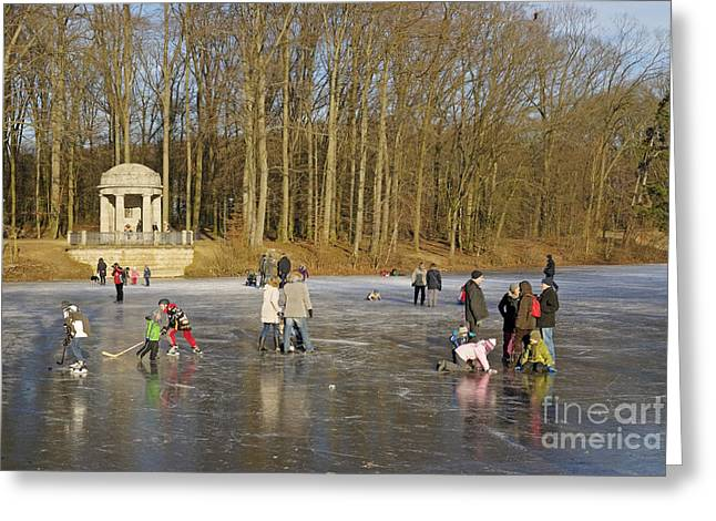 Frozen Lake Krefeld Germany. Greeting Card by David Davies