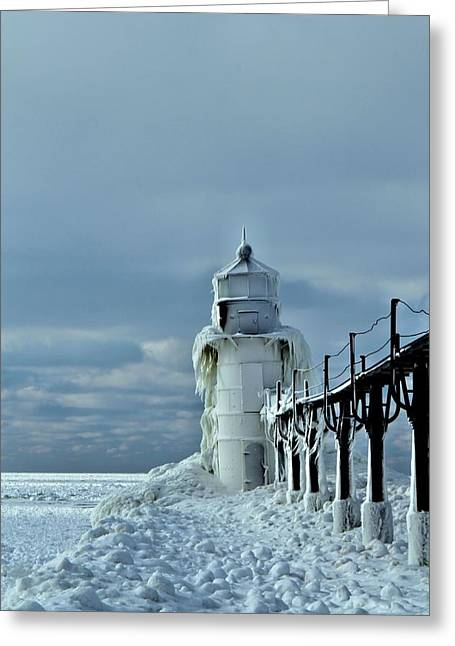 Frozen Lighthouse In Saint Joseph Greeting Card by Dan Sproul