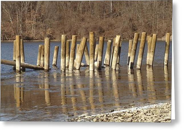Frozen Pilings Greeting Card by Michael Porchik