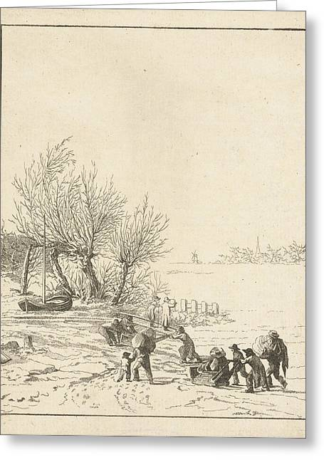 Frozen River Sledging With Children, Joannes Bemme Greeting Card by Artokoloro