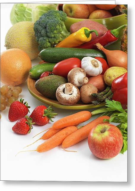 Fruit And Vegetables Greeting Card by Tek Image